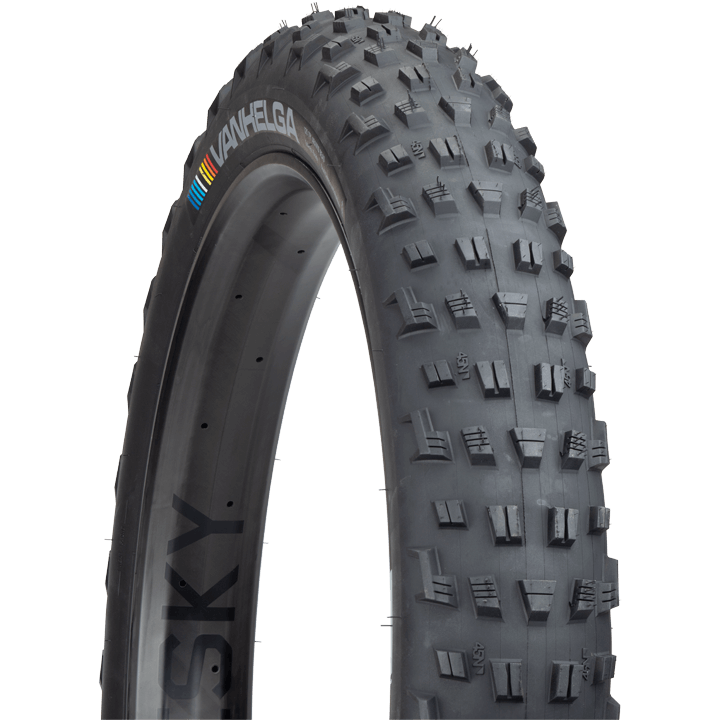 45NRTH Vanhelga Fat Bike Tire - black - three quarter view with tread detail