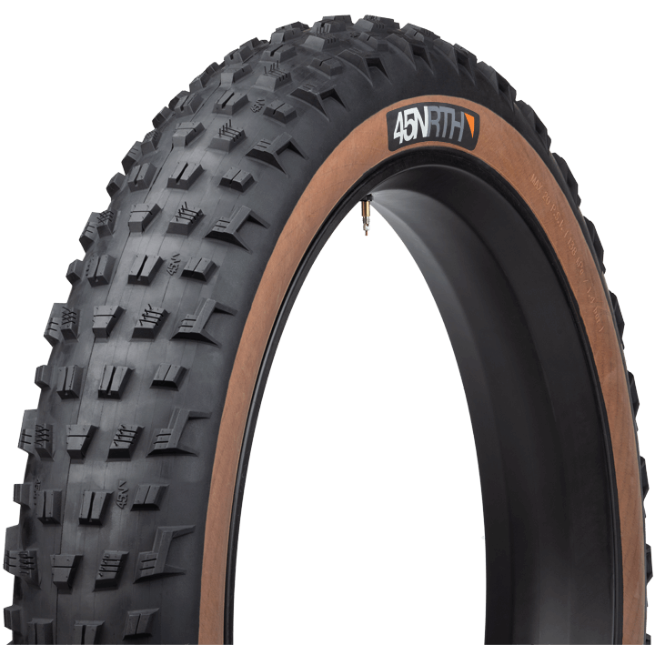 45NRTH Vanhelga Fat Bike Tire - black/tan - three quarter view with sidewall and tread detail