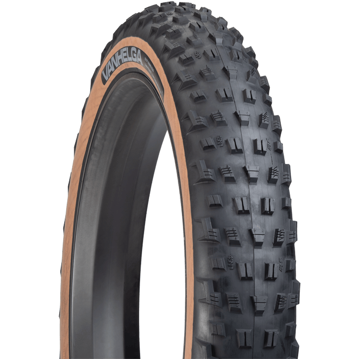 45NRTH Vanhelga Fat Bike Tire - black/tan - three quarter view with tread detail