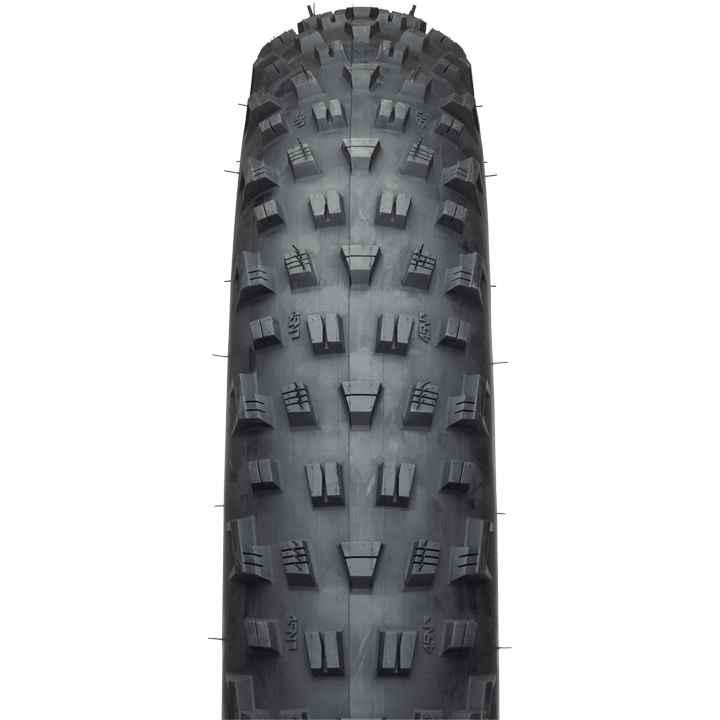 45NRTH Vanhelga 27.5 Fat Bike Tire - black - front view with tread detail