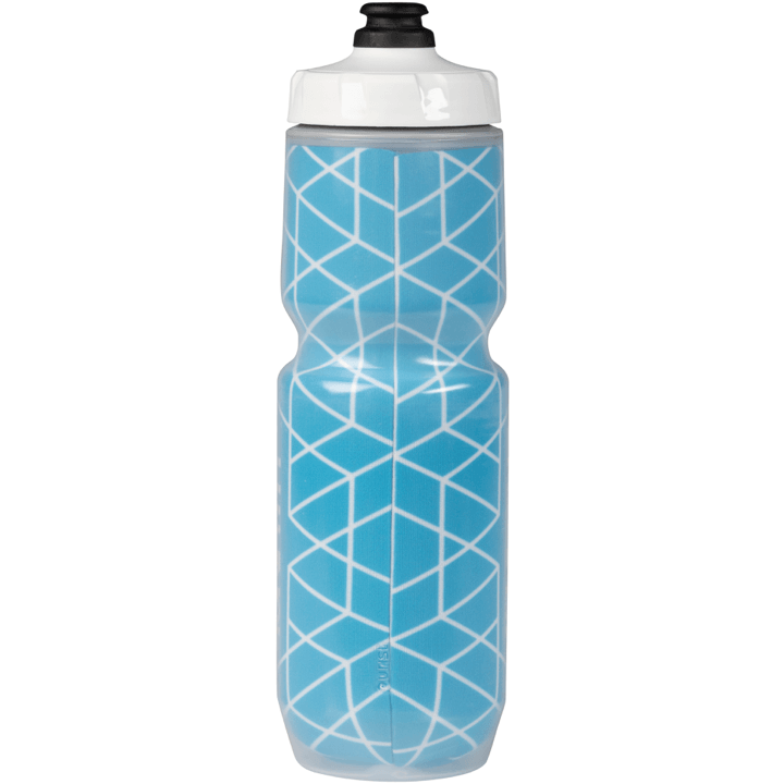 45NRTH Decade Purist Insulated Water Bottle - Cyan with White Design - Rear