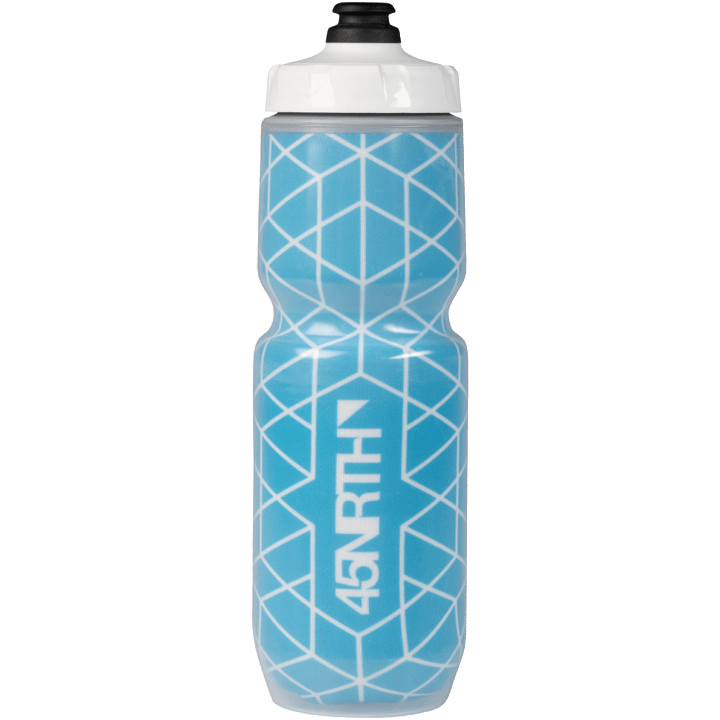 45NRTH Decade Purist Insulated Water Bottle - Cyan with White Design - Front