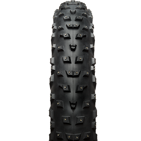 45NRTH Wrathchild Fat Studded Tire - black - front view with tread detail