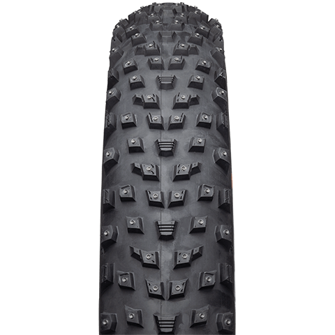 45NRTH Wrathlorde Studded Fat Bike Tire - black - front view with tread detail