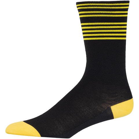 45NRTH Lightweight Cycling Sock - Black/Citron - side view