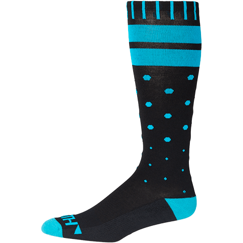 45NRTH Knee Hight Sock - Black/Cyan - side view