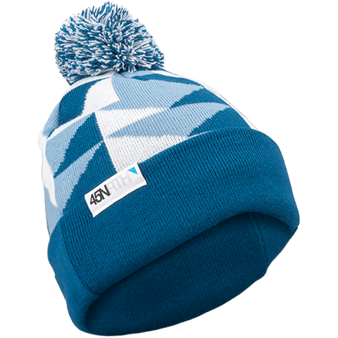 45NRTH Scandi Pom Hat - Blue/white - front three quarter view