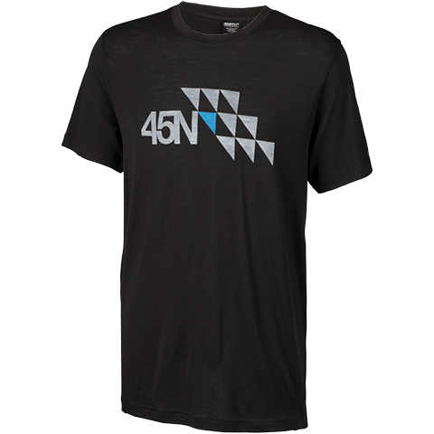45NRTH Limited Edition Merino Wool T-Shirt - Black with logo design - Men's/unisex fit - front view